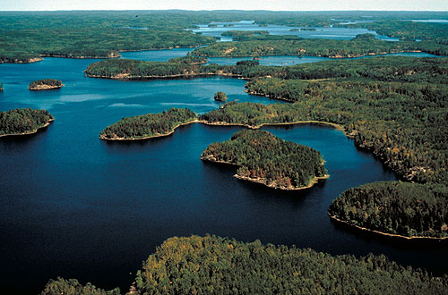 Aerial view of the Boundary Waters Canoe Area Wilderness